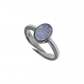 Ring Silver 925 black rhodium plated with agate - Enigma