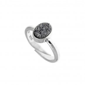 Ring Silver 925, rhodium plated with agate - Enigma