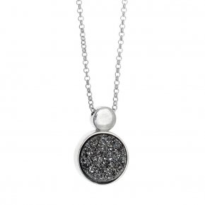 Necklace in silver 925, rhodium plated with agate - Enigma