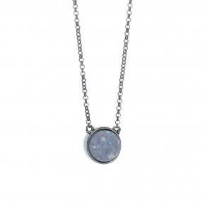 Necklace in silver 925 black rhodium plated with agate - Enigma