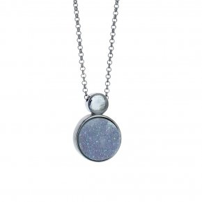 Necklace in silver 925, black rhodium plated withagate - Enigma