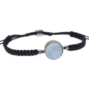 Cord Bracelet in silver 925 black rhodium plated with agate - Enigma