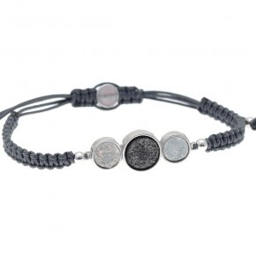 Cord Bracelet in silver 925 rhodium plated with agate - Enigma