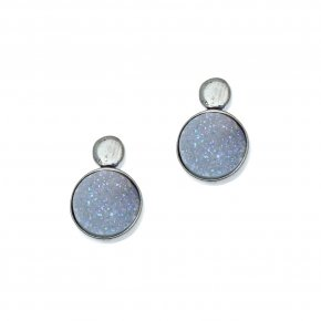 Earrings in silver 925 black rhodium plated with agate - Enigma