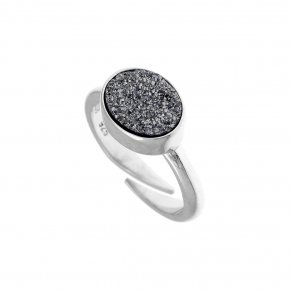 Ring Silver 925 rhodium plated with agate - Enigma