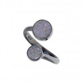 Ring Silver 925,black rhodium plated with agate - Enigma