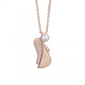 Necklace in silver 925, pink gold plated with white zirconia - Aggelos
