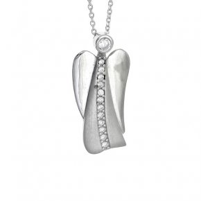 Necklace in silver 925 rhodium plated with white zirconia - Aggelos