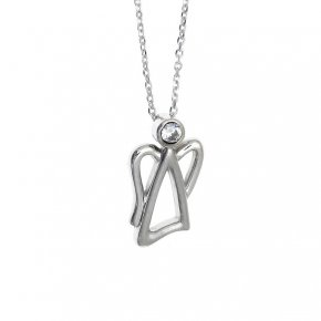 Necklace in silver 925, rhodium plated with white zirconia - Aggelos