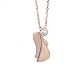 Pendant in pink gold 14 carats with white zirconia - Angels