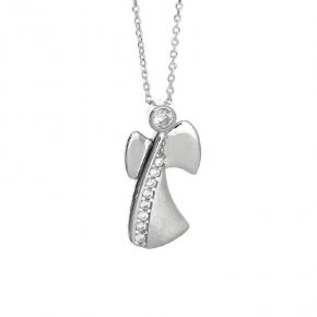 Pendant in white gold 14 carats with white zirconia - Angels