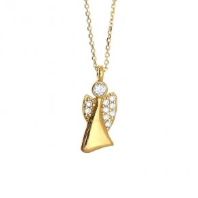 Pendant in gold 14 carats with white zirconia - Angels