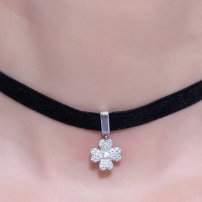 Cord Necklace in silver 925 Choker rhodium plated with white zirconia - Choker