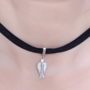 Cord Necklace in silver 925, Choker rhodium plated withwhite zirconia - Choker