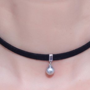 Cord Necklace in silver 925, Choker rhodiumplated - Choker