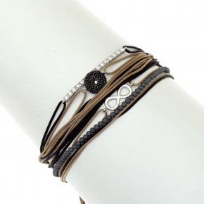 Cord Bracelet in silver 925, rhodium plated with blackspinel - Aegis