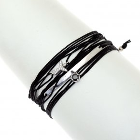 Cord Bracelet in silver 925, rhodium plated with white zirconia - Aegis