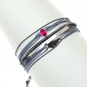 Cord Bracelet in silver 925, rhodium plated withcrystals - Aegis