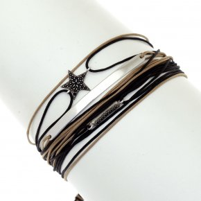Cord Bracelet in silver 925 rhodium plated with black spinel - Aegis