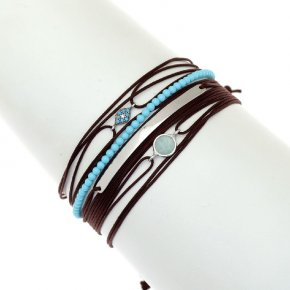 Cord Bracelet in silver 925 rhodium plated with turquoise zirconia - Aegis
