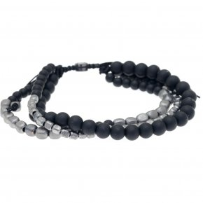 Cord Bracelet in silver 925 black rhodium plated with onyx - Apopsis