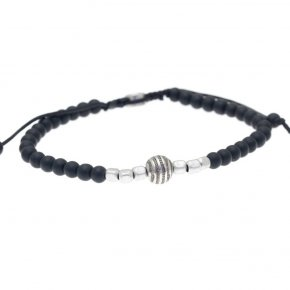 Cord Bracelet in silver 925 pink gold and black rhodium plated with onyx - My Man