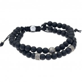 Cord Bracelet in silver 925 pink gold plated with onyx - My Man
