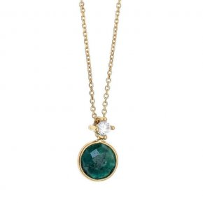 Necklace in silver 925 platinum plated with chrysopraseand white zirconia - Petra
