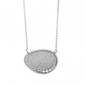 Necklace in silver 925 rhodium plated with white zirconia - Kosmos