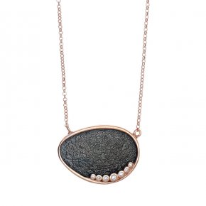 Necklace in silver 925 pink gold plated with white zirconia - Funky Metal