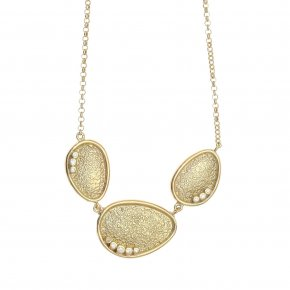 Necklace in silver 925 gold plated with white zirconia - Funky Metal