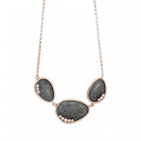 Necklace in silver 925 pink gold plated with white zirconia - Kosmos
