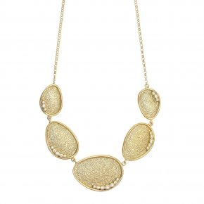 Necklace in silver 925 gold plated with white zirconia - Kosmos