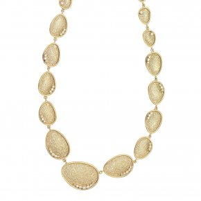 Necklace in silver 925, gold plated with white zirconia - Kosmos