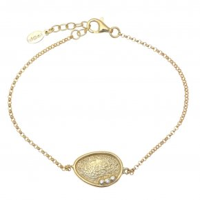Bracelet in silver 925 gold plated with white zirconia - Funky Metal