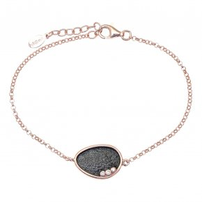 Bracelet in silver 925 pink gold plated with white zirconia - Funky Metal