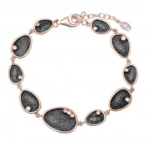 Bracelet in silver 925 pink gold plated with white zirconia - Kosmos