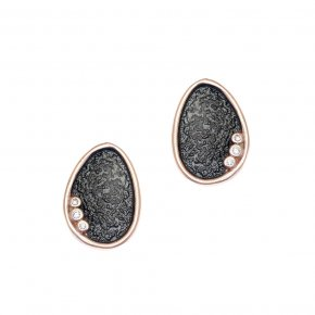 Cord Earrings in silver 925 pink gold plated with white zirconia - Funky Metal