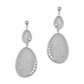 Cord Earrings in silver 925 rhodium plated with white zirconia - Kosmos