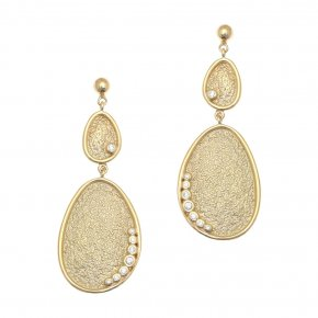 Cord Earrings in silver 925 gold plated with white zirconia - Kosmos