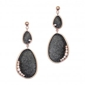 Cord Earrings in silver 925 pink gold plated with white zirconia - Kosmos