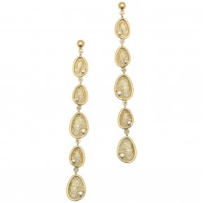 Cord Earrings in silver 925 gold plated with white zirconia - Funky Metal