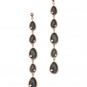 Earrings in silver 925 pink gold plated with white zirconia - Funky Metal
