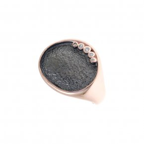Ring silver 925 pink gold plated with white zirconia - Funky Metal