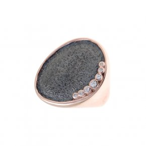 Cord Ring Silver 925 pink gold plated with white zirconia - Kosmos