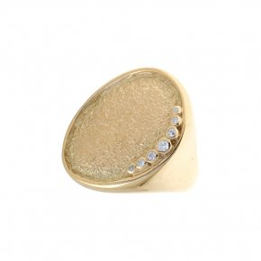Cord Ring Silver 925 yellow gold plated with white zirconia - Kosmos