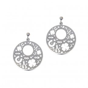 Earrings in silver 925, rhodium plated - Fos