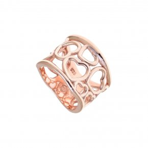 Ring Silver 925, pink gold plated - Eva