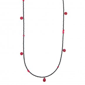 Necklace in silver 925 pink gold plated with rubyand onyx - Petra