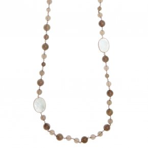 Necklace in silver 925 pink gold plated with moonstone and smoky quartz - Petra